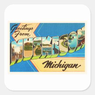 Muskegon Michigan MI Old Vintage Travel Souvenir Square Sticker
