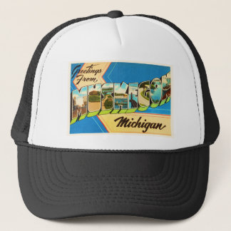 Muskegon Michigan MI Old Vintage Travel Souvenir Trucker Hat