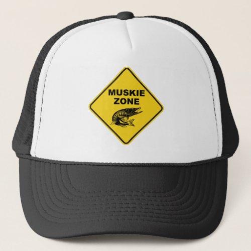 Muskie Fishing Zone Sign Trucker Hat