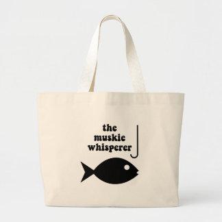 muskie whisperer fishing canvas bag