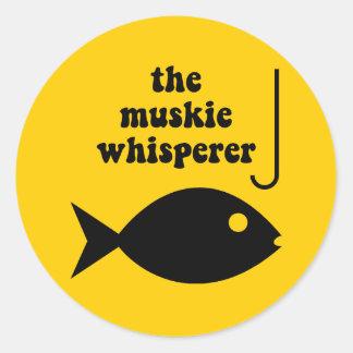 muskie whisperer fishing classic round sticker