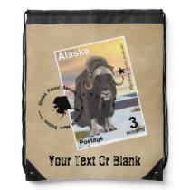 Muskox Stamp Souvenir Drawstring Bag