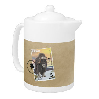 Muskox Stamp Souvenir Teapot