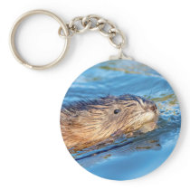 Muskrat at Vassar Farms Ecological Preserve Keychain