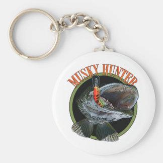 Musky hunter 7 basic round button keychain