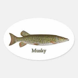 Musky (muskellunge) oval sticker