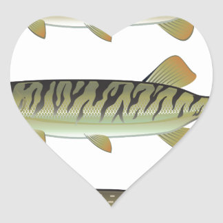 Musky Tiger musky and Northern Pike vector Heart Sticker