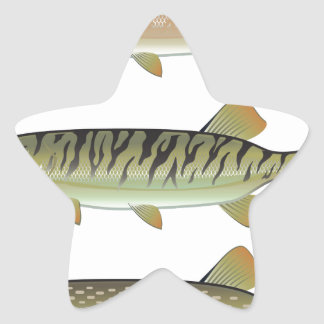 Musky Tiger musky and Northern Pike vector Star Sticker
