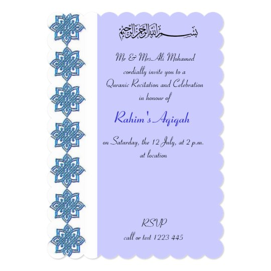 Muslim Baby Boy Blue Aqiqah Islamic Invitation Zazzle Com