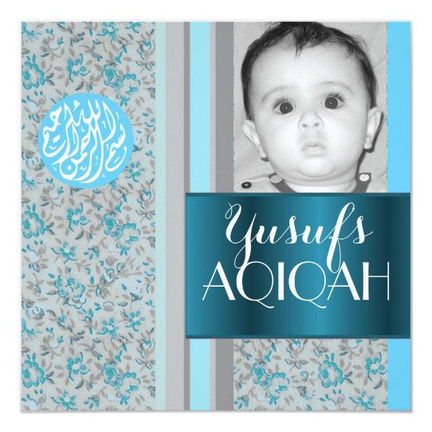 Muslim baby boy blue aqiqah photo card