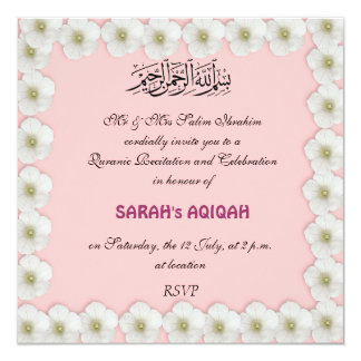 Aqiqah invitations announcements zazzle muslim baby girl aqiqah card stopboris Choice Image