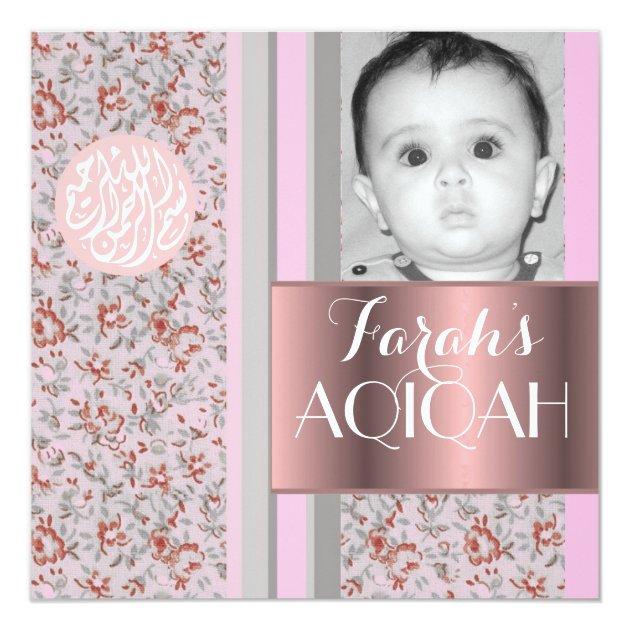 Muslim baby girl pink aqiqah photo card