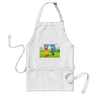 Muslim boy and girl holding hands adult apron