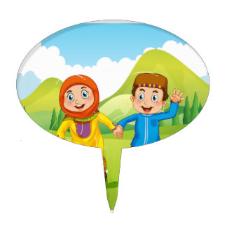 Muslim boy and girl holding hands cake topper