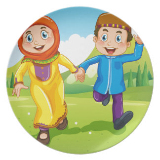 Muslim boy and girl holding hands dinner plate
