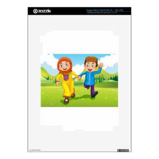 Muslim boy and girl holding hands iPad 3 skin