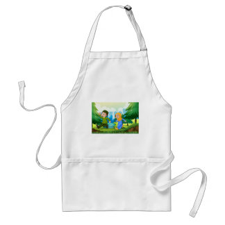 Muslim boy and girl in the park adult apron