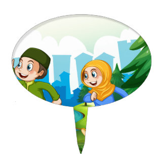 Muslim boy and girl in the park cake topper