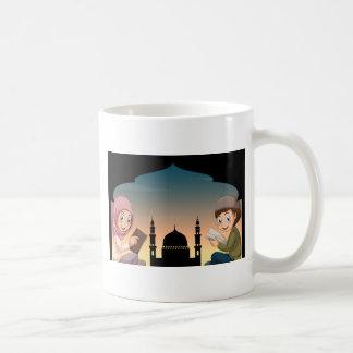 Muslim boy and girl reading books coffee mug
