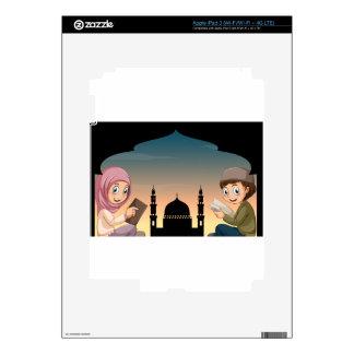 Muslim boy and girl reading books iPad 3 skin