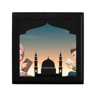 Muslim boy and girl reading books keepsake box