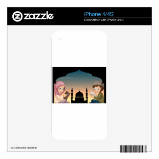 Muslim boy and girl reading books skins for the iPhone 4S