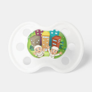 Muslim couple and buildings pacifier