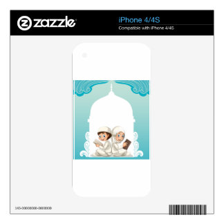 Muslim couple in white costume reading books decal for iPhone 4