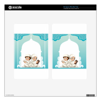 Muslim couple in white costume reading books decal for kindle fire