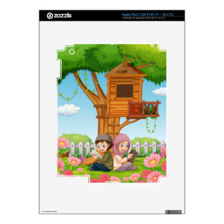 Muslim couple reading books in the park iPad 3 skin