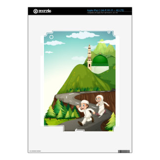 Muslim couple running down the road iPad 3 decals