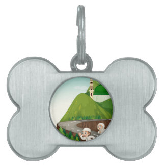 Muslim couple running down the road pet tag