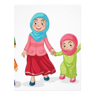 Muslim families looking happy letterhead