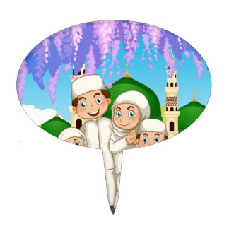 Muslim family standing in the park cake topper