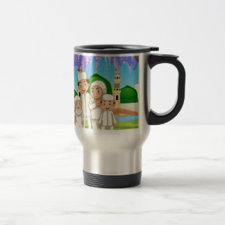 Muslim family standing in the park travel mug