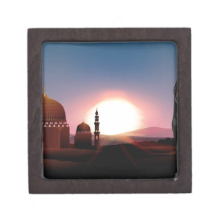 Muslim girl holding book at mosque jewelry box