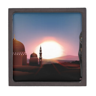 Muslim girl holding book at mosque keepsake box