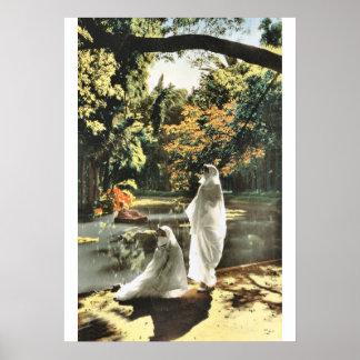 Muslim ladies in a garden in Algiers Poster