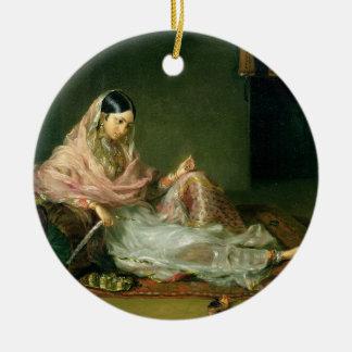 Muslim Lady Reclining, 1789 (oil on canvas) Ceramic Ornament