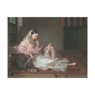 Muslim Lady Reclining By Francesco Renaldi Canvas Print