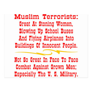 Muslim Terrorists Not So Great @ Face To Face Postcard