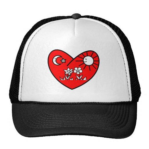 Muslim Valentine Red Heart Mesh Hats