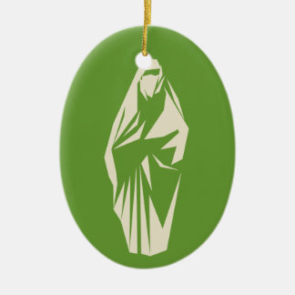 Muslim woman dressed christmas tree ornaments