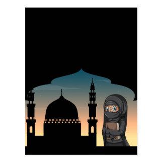 Muslim woman in black costume postcard