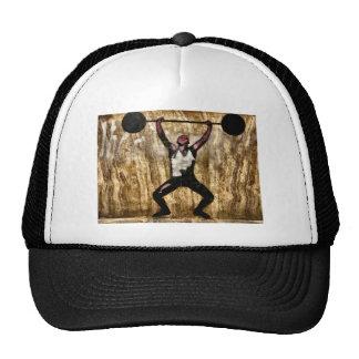 Musscleman Strongman Weightlifter Dumbbell Barbell Trucker Hat