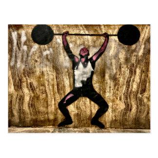 Musscleman Strongman Weightlifter Dumbbell Barbell Postcard