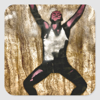 Musscleman Strongman Weightlifter Dumbbell Barbell Square Sticker