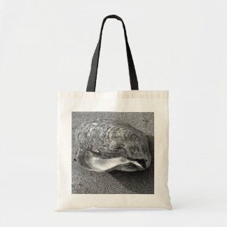 Mussel Shell Black and White Beach Tote Bag