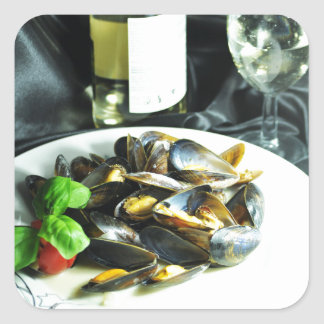 Mussels Square Sticker