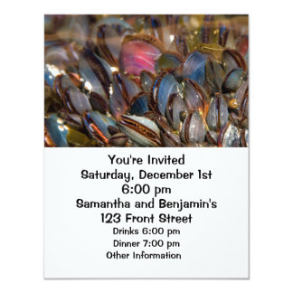 """Mussels Under the Ocean 4.25"""" X 5.5"""" Invitation Card"""